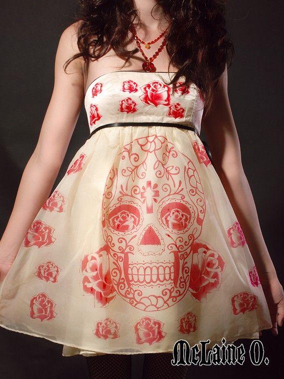 Sugar Skull Party Dress  HANDMADE by mclaineo on Etsy, $350.00
