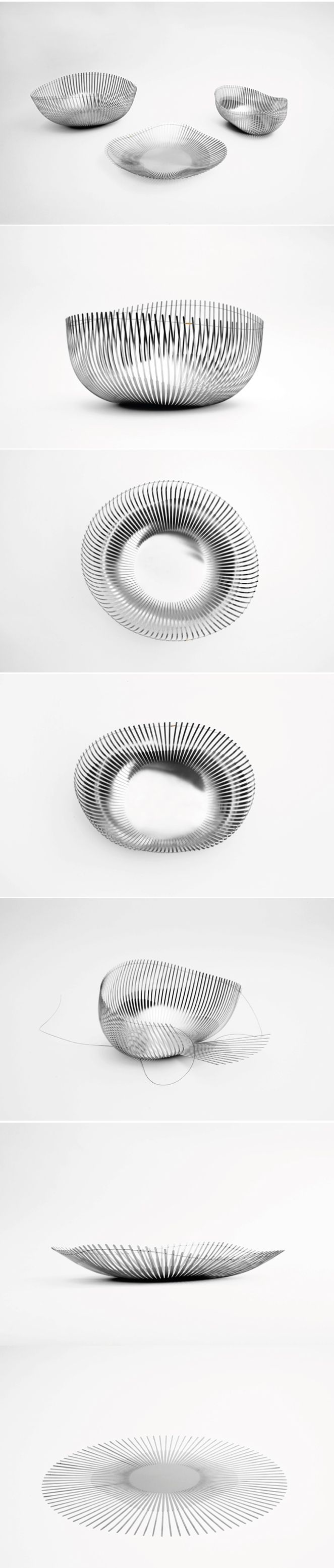 Thalie by Julie Richoz August 28th, 2012  ECAL graduate Julie Richoz has made a series of containers made out of flat sheets of cut spring steel. The collection comprises a plate, a fruit bowl and a bread basket, all made using a process inspired by crochet and knitting.