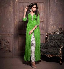 Look at long kurti style kameez, Latest style of long slit in center with 3/4 sleeves and designer salwar.