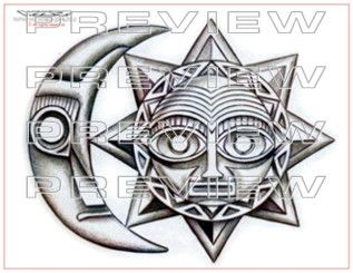 aztec sun and moon tattoo stencil