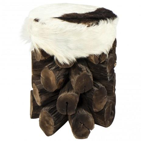Taburet, dark wood wit seat of goat skin