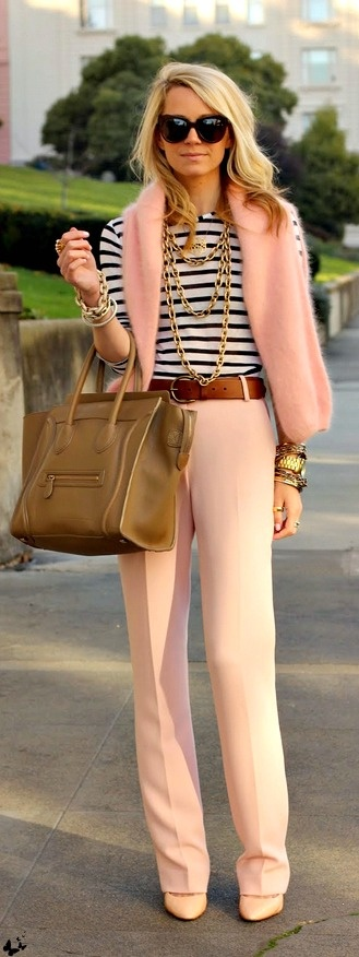 Peach is a hard color to wear for some women, but pair it up with a blue stripe nautical shirt and it will look terrific on anyone...