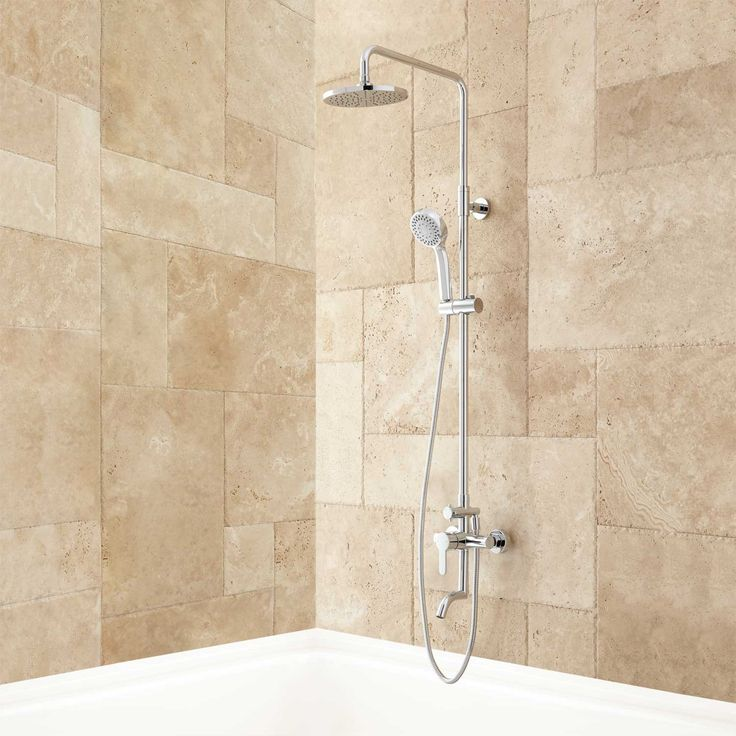 Mustaine Exposed Pipe Tub and Shower Set - Chrome - Tub and Shower Sets - Shower - Bathroom