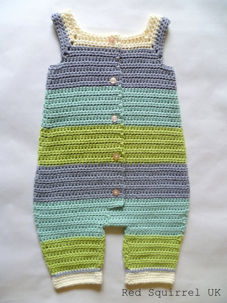 Crocheted Green and Blue Striped Baby Onesie, Romper, Overall. $60.00 USD, via Etsy.