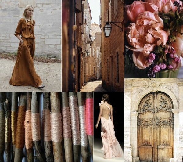 sienna brown and blush pink