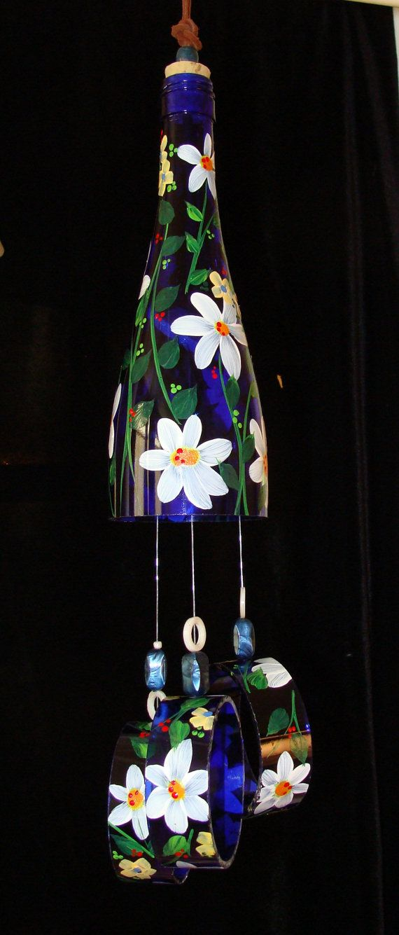 Wind Chime Blue Daisy made from recycled wine by BottleofLight, $35.00