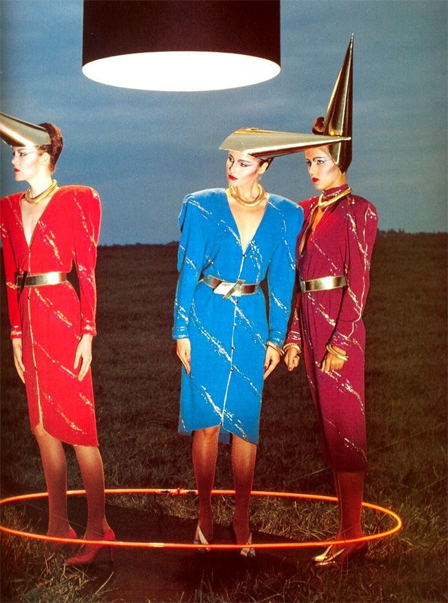Models wearing Thierry Mugler and Claude Montana, 1979. Photo by Peter Knapp.