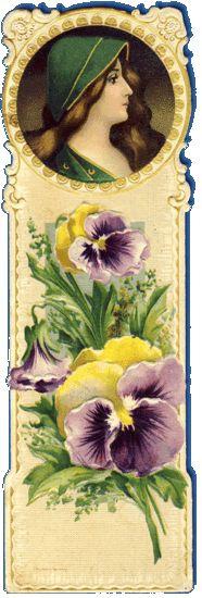 Vintage lady with pansies bookmark