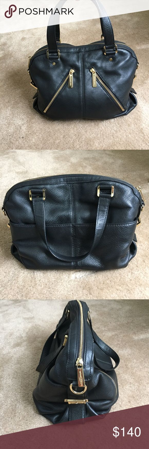 Black Michael Kors bag Perfect condition MK bag! Soft leather, gold hardware with crossbody strap (strap was never used). Purchased at Bloomingdales. Always got lots of compliments on this bag! Debated selling but I bought a different black bag the same size 😕 Michael Kors Bags