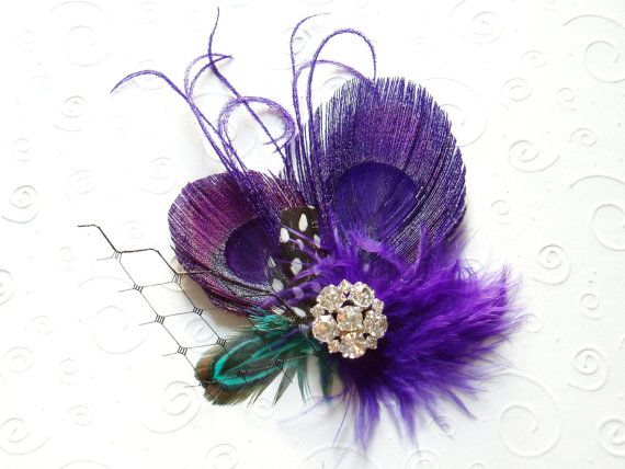 Purple Peacock Feather Hair Clip Bridal Fascinator, Bride Wedding Hair Piece, bridesmaid gift on Etsy, $36.00