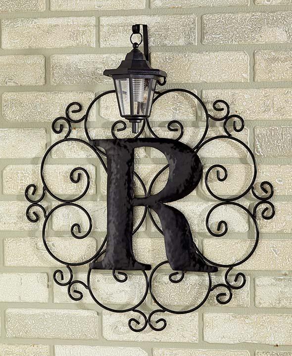 Metal Monogram Solar Light Wall Art Hanging Decor Scrollwork Frame 12 Letters | eBay