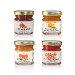 Cofanetto del Petrarca: - confettura di corbezzoli - confettura peperoncino - confettura di zucca, vaniglia, brodo di giuggiole - confettura di melagrana