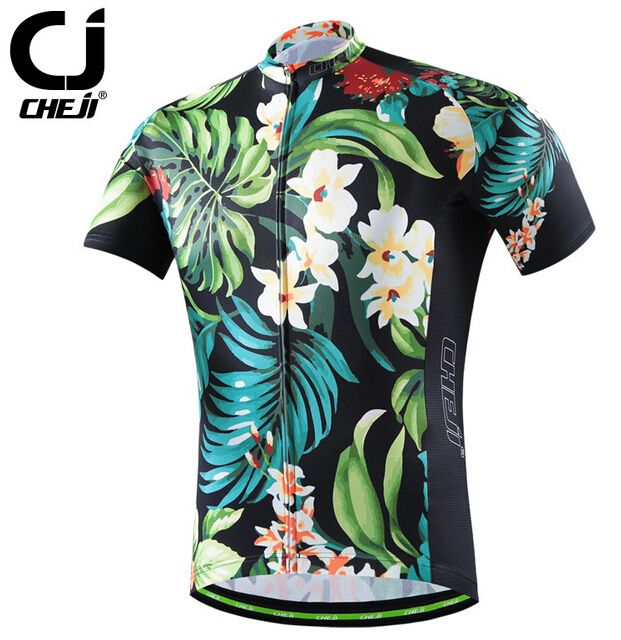 2017 CHEJI Retro Cycling Jerseys Men's MTB Team Bicycle Jersey Clothing Flower
