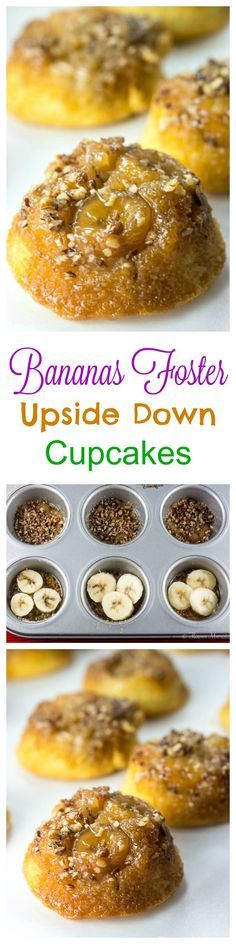 Bananas Foster Upside Down Cupcakes are easy to make upside down cupcakes made with bananas instead of pineapple, and are a perfect mini dessert for Mardi Gras (aka Fat Tuesday) or any party. ~ http://FlavorMosaic.com
