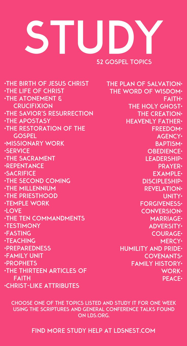 52 gospel study topics. Choose one each week and you're set for the year! #lds #ldsnest Use for personal study or for your classes and youth