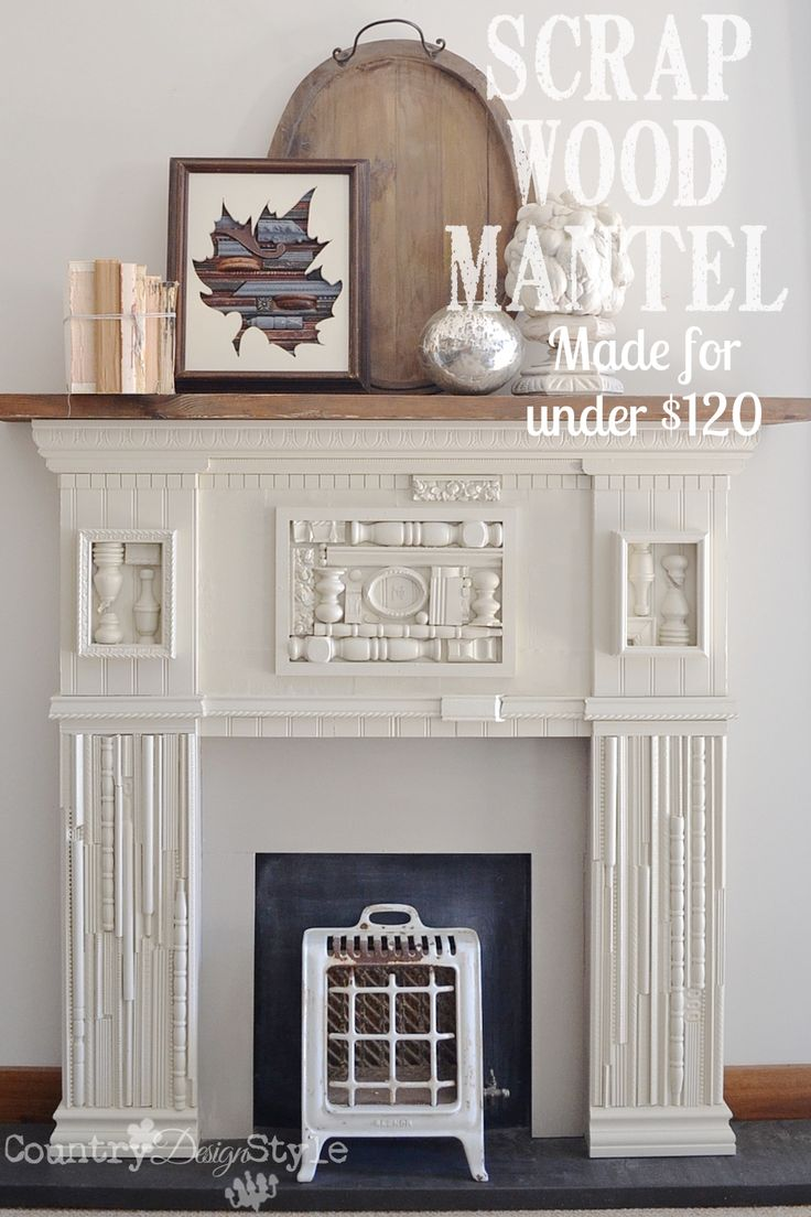 Want to make your own faux mantel?  This one was made with a sheet of mdf and scrap wood pieces and broken spindles.  Spent $120!!!  http://countrydesignstyle.com
