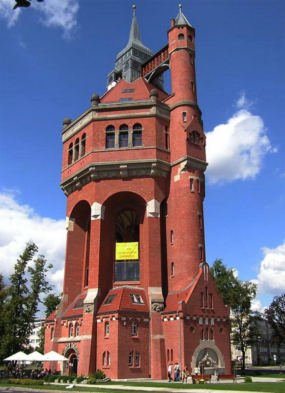 Wroclaw Water Tower in Poland - The tower is 207 feet high, and has an observation deck at a height of 138 feet.    In 1995 the building was 'rejuvenated' and is now a restaurant.