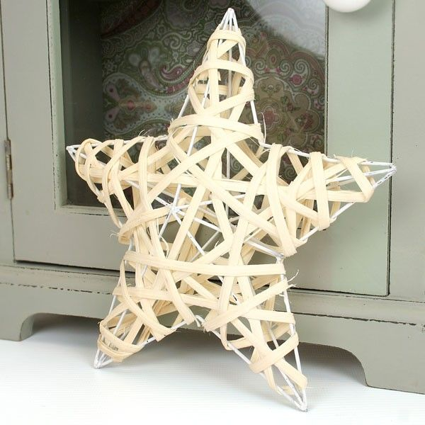 Small Cream Wicker Amp Wire Star Christmas Outdoor
