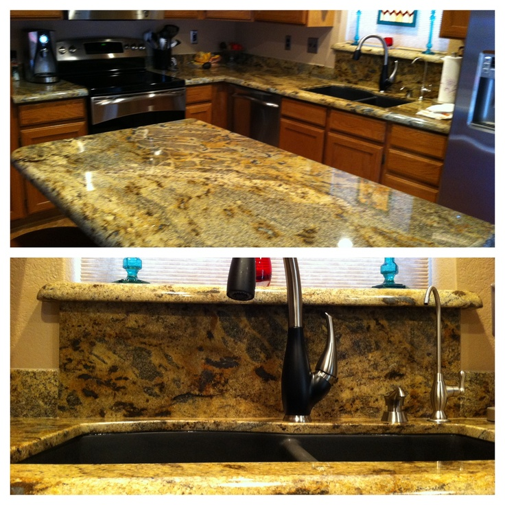 2cm Lapidus With A Black Granite Composite Sink And
