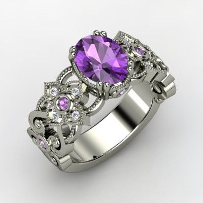 Mantilla Ring Oval Amethyst 14K White Gold Ring with Amethyst & Diamond - Might get this one instead.