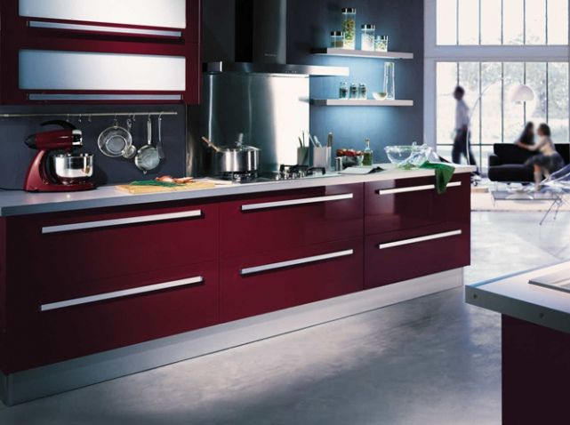 Cuisine color e rouge hygena cuisine kitchen for Credence cuisine coloree