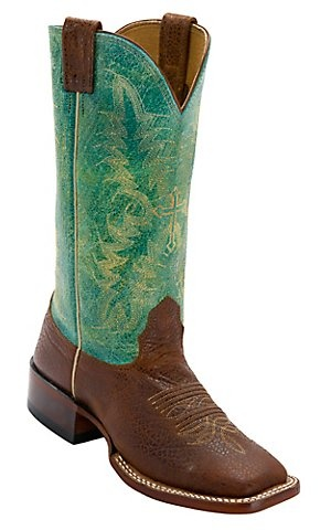 Larry Mahan® Womens Elna Cognac Cowhide w/ Wild Turquoise Top Wide Square Toe Western Boots | Cavenders Boot City