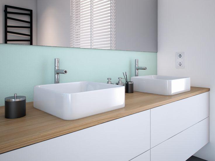 Błękitno-biała łazienka dla dwojga to jest to. Pozwoli rozładować poranne napięcie w oczekiwaniu na swoją kolej;)