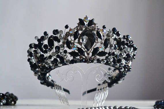 Black crown Bridal Crown Wedding Crown Black Tiara Crystal