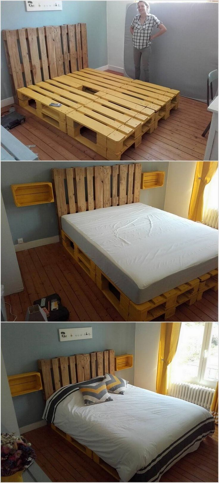 Wood pallet bed frame with lights the for Pallet bed frame with lights pinterest