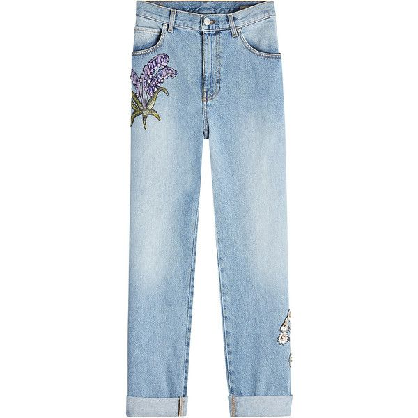 Alexander McQueen Embroidered Boyfriend Jeans (€1.721) ❤ liked on Polyvore featuring jeans, blue, embroidery jeans, embellish jeans, alexander mcqueen, blue jeans and rolled up jeans