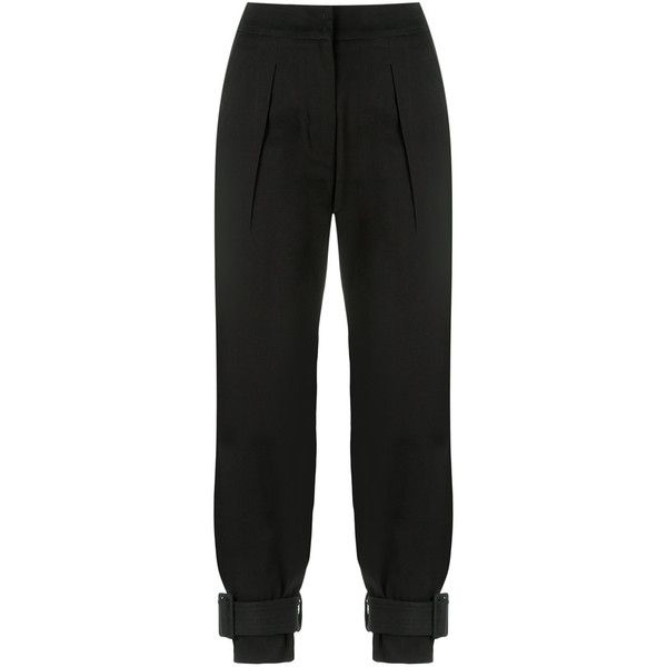 Egrey cropped trousers ($272) ❤ liked on Polyvore featuring pants, capris, black, high-waisted trousers, highwaist pants, high-waist trousers, high rise pants and high waisted cropped pants