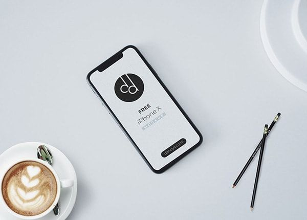 Download Iphone X On Table Free Mockup Psd Desain