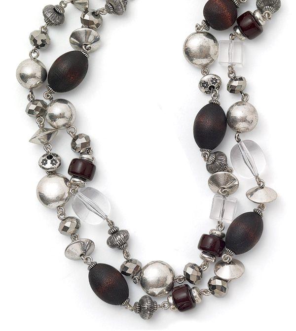 194 best lia sophia necklaces silver images on pinterest lia final lia sophia coffee bean necklace silver tone chain with genuine wood silver and clear beads measurements new with lia sophia tag aloadofball Image collections