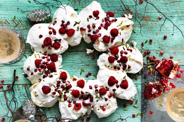 Dessert-meets-decoration: Rachel Khoo's pomegranate pavlova wreath is an edible table centrepiece