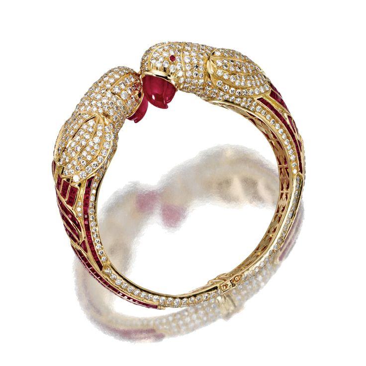 gold ruby and diamond parrot banglebracelet lot