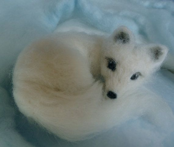 Needle Felted Arctic Fox White Winter by ClaudiaMarieFelt on Etsy, $46.00