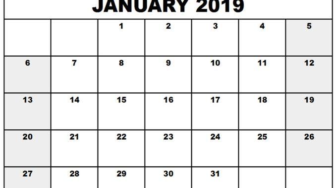 Calendar January 2019 PDF Printable Calendar January 2019