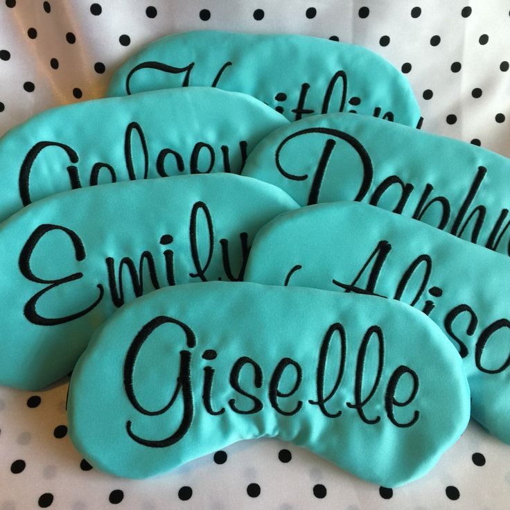 Personalized Breakfast at Tiffany's Sleep Mask Party Favors Custom Bachelorette Party Sweet 16 Slumber Party by TheSleepyCottage on Etsy https://www.etsy.com/listing/207729057/personalized-breakfast-at-tiffanys-sleep