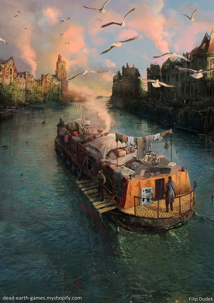Boat on the river by 5ofnovember. #postapocalyptic #Art #gosstudio .★ We recommend Gift Shop: http://gosstudio.com ★