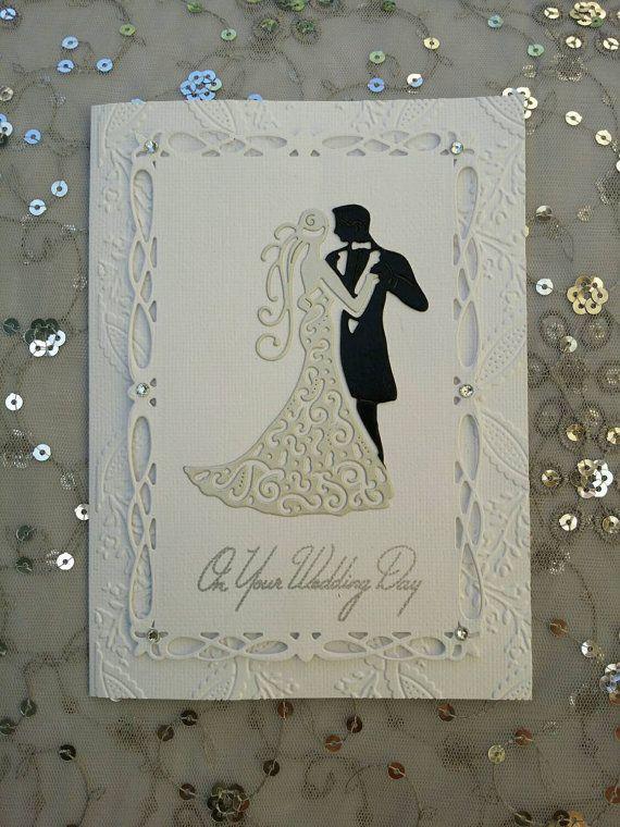 Carta fatta a mano di nozze, nozze coppia, carta di giorno di nozze personalizzabili, tradizionale, biglietto di congratulazioni matrimonio, brandelli di carta die pizzo