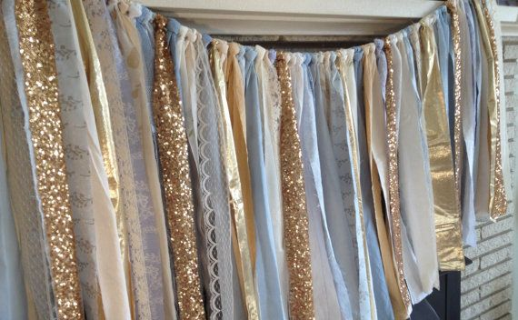 Gold Sequin Garland with Blue Fabric - Baby Shower, Nursery, Wedding, Photo Prop, Crib Skirt, Sparkle Garland