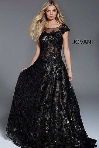 bc800394bf6 Black Floral Applique Cap Sleeve Evening Gown 54480  CorsetDress   LaceupGown  Jovani  PromDress  Formal