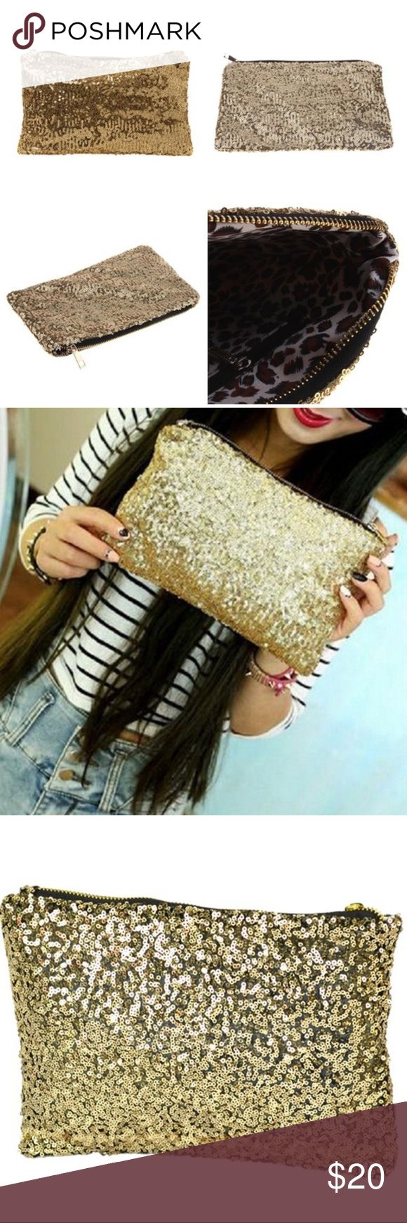 "Gold Sequin Clutch w/ Leopard print lining NEW!! Amazing!! Gold Sequined Clutch with leopard print inside lining, zippered-closure and one zippered inside pocket.  Length: 10""  Height: 6""   Width: 1/4"" (empty) Bags Clutches & Wristlets"