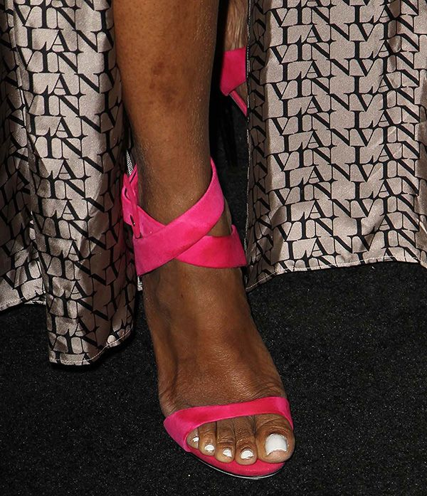Nene Leakes in Giuseppe Zanotti Spring 2013 cross-strap sandals
