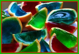 orange jelly wedges, kids party food
