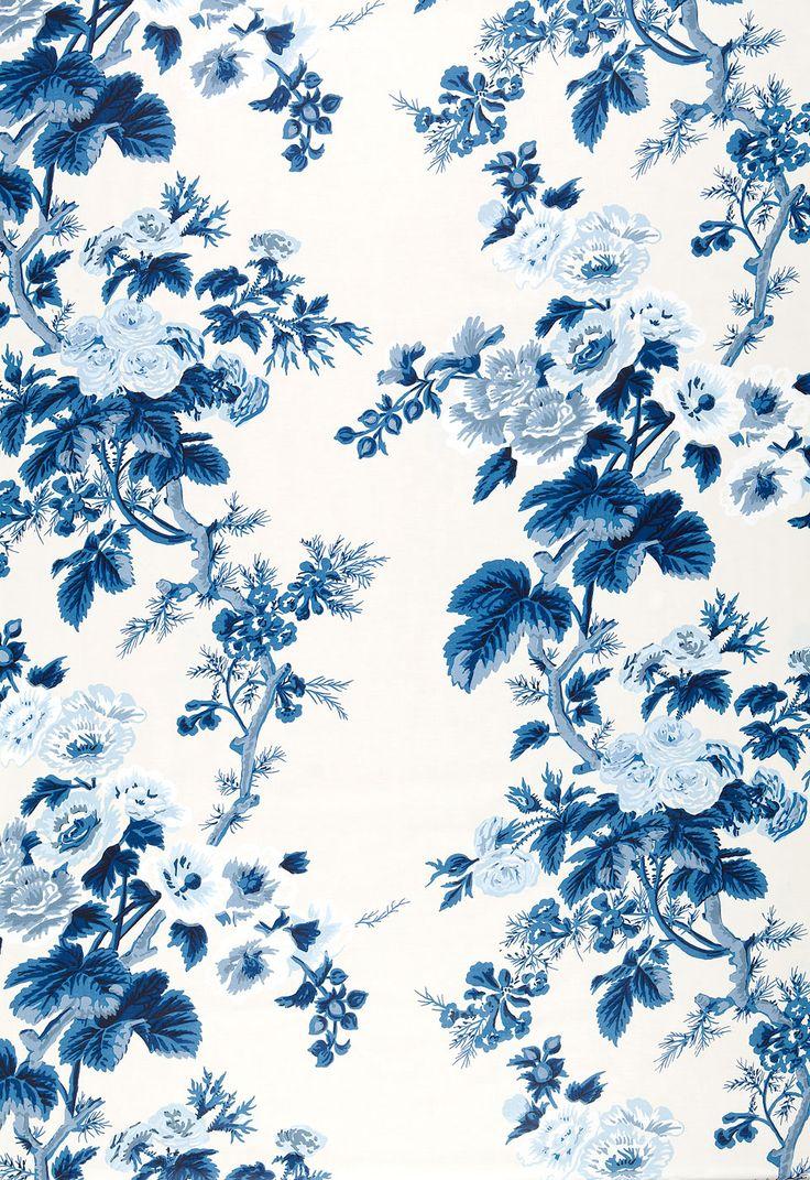 Fabric   Pyne Hollyhock Print in Indigo   Schumacher