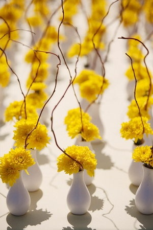 yellow flower centerpieces, photo by: Stephanie Williams Photography