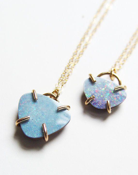 ON SALE Blue Opal Triangle Gold Necklace OOAK by friedasophie