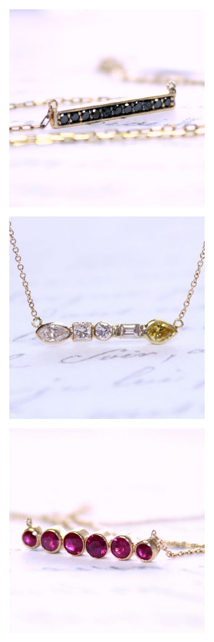 Bar necklaces - such a pretty modern look! Black Diamond and Yellow Gold Bar Necklace; White and Canary Diamond Bar Necklace; Ruby and Yellow Gold Bar Necklace