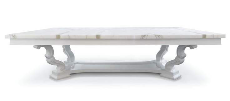 "Zephyr Dining Table. Company: Pal + Smith. Top: Calcutta Marble. Finish: White Wood Lacquer. Measurement: Width 120"" x Depth 72"" x Height 30.5"""